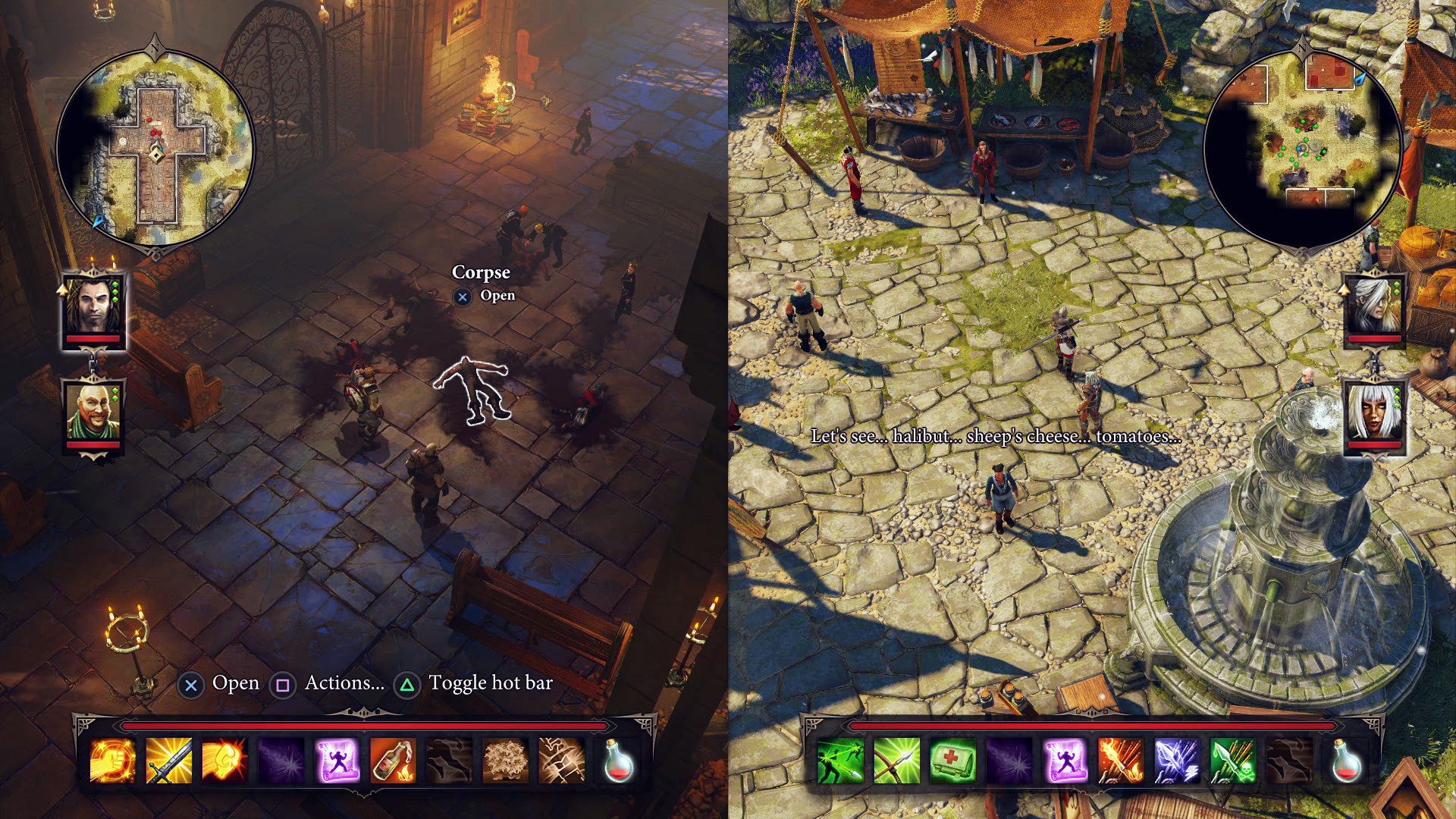 A screenshot of the game, Divinity Original Sin showing split screen gameplay. Games to play with your partner