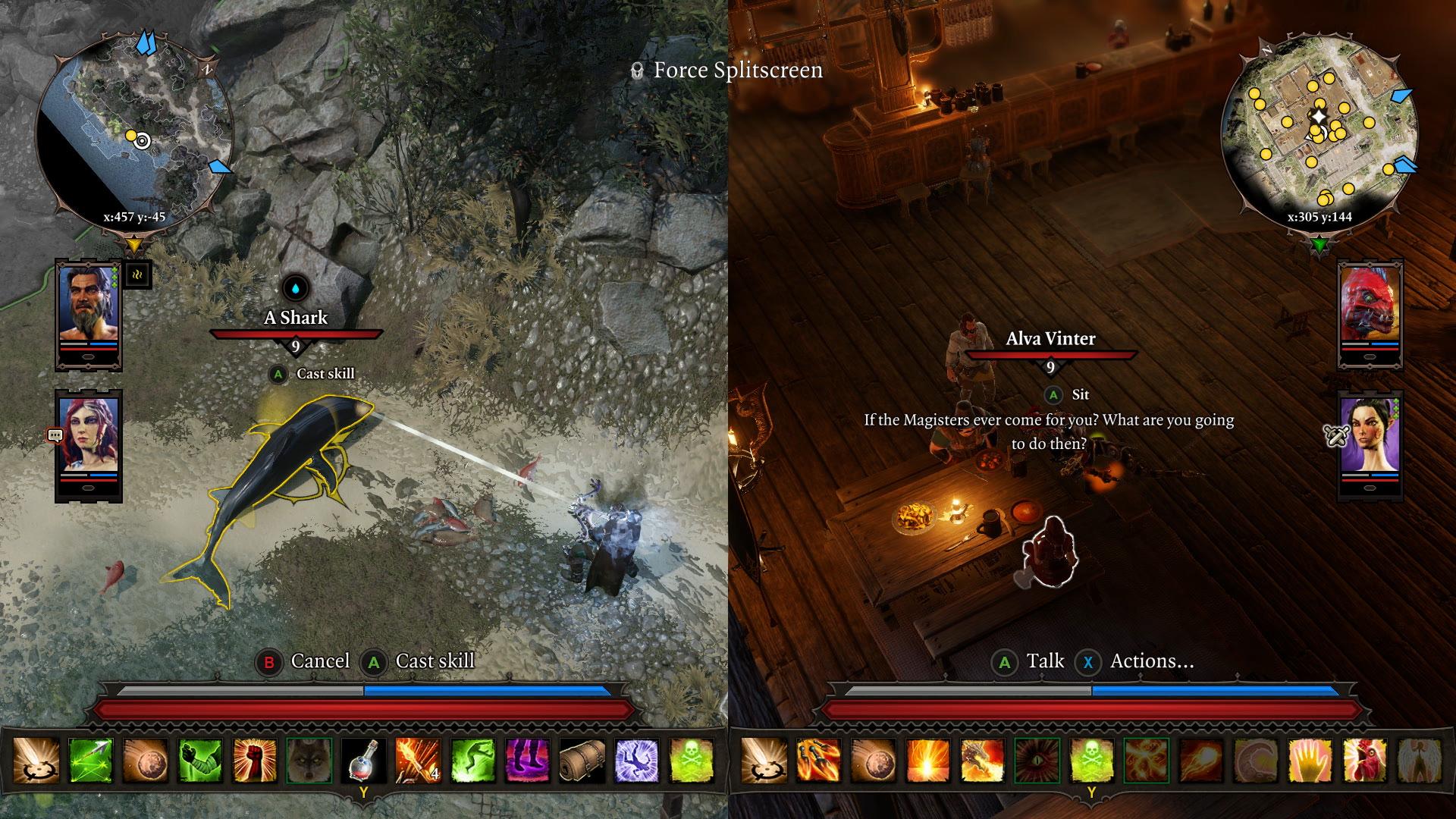 Split screen screenshot showing 2 people playing co-op in Divinity 2