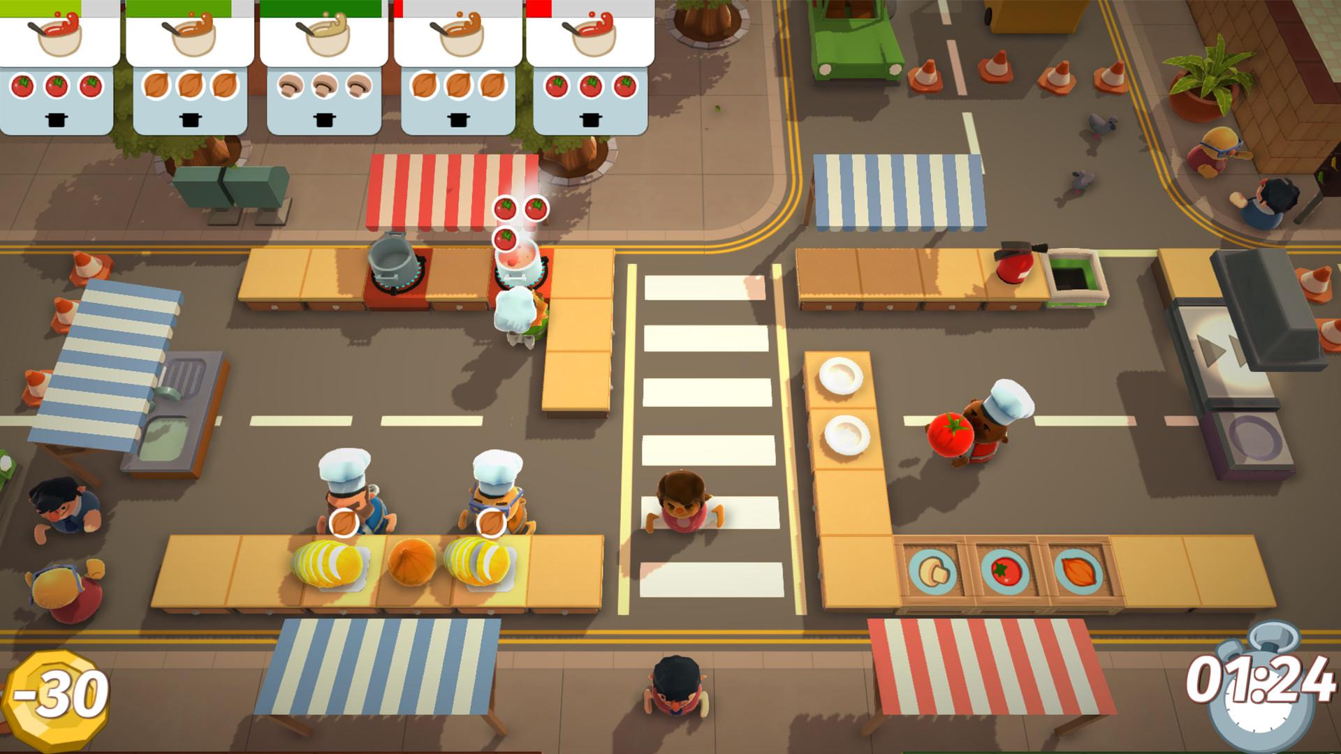 Screenshot of co-op gameplay in Overcooked
