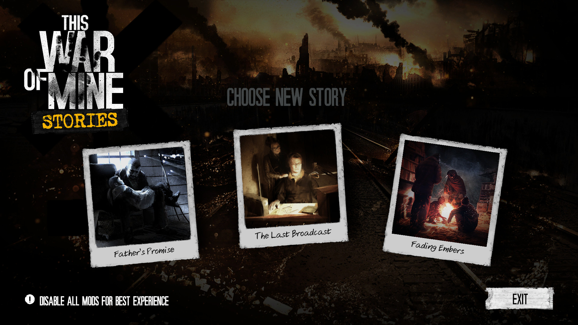 "From left to right are three DLCs, the left shows ""Father's promise"" with a father holding his daughter. The middle shows ""The Last Broadcast"" with a lady standing behind a man. The right shows ""Fading embers"" with a group of survivors gathering around a fire."